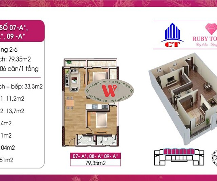 Chung cư 79m² 2 PN 2WC duy nhất tại Ruby
